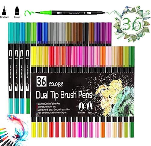 Rotuladores de Punta Doble, Vakki 36 Colores Rotuladores Punta Pincel, Plumas para Colorear para Dibujo, Boceto, Diseño, Firma, Cómic