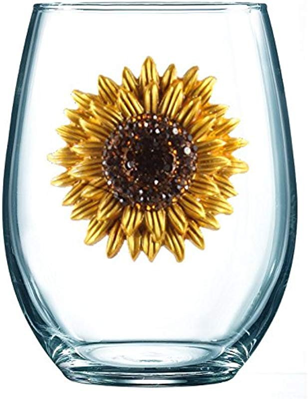 THE QUEENS JEWELS Sunflower Jeweled Stemless Wine Glass Unique Gift For Women Birthday Cute Fun Not Painted Decorated Bling Bedazzled Rhinestone