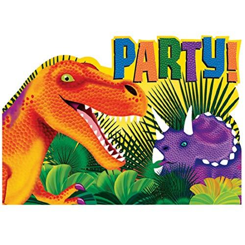 NET TOYS 8 Aufregende Dinosaurier-Einladungen zum Geburtstag - 10,7x15,8cm - Originelle Party-Deko T-Rex Einladungskarten mit Umschlägen & Sticker - Bestens geeignet für Kindergeburtstag & Kinderfest