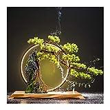 planta de escritorio Artificial Bonsai Tree Decoración de escritorio Plantas de rocalla y luces LED Realista Interior Artificial Plantas verdes Adecuado para oficina de sala de estar Árboles artificia