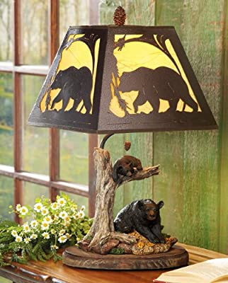 Decorative Modern Country Rustic Cabin Table Lamp for Bedroom, Living Room by BLACK FOREST DECOR