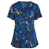 UOFOCO Women Print Tops Working Uniform T-Shirt Short Sleeve V-Neck Tops with Pockets