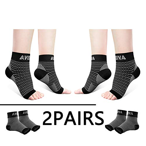 AVIDDA Ankle Brace for Men Women 2 Pairs Plantar Fasciitis Socks with Arch Support Compression Foot Sleeve for Achilles Tendon Support Sprained Ankle Swelling Flat Feet Black M