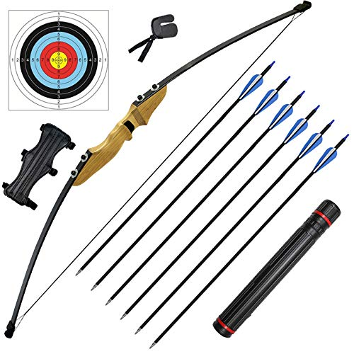Archery Recurve Bow and Arrow Set for Adults 40 lbs Traditional Wooden Takedown Longbow Kit with 6 Arrows 5 Target Faces Quiver Arm Guard Finger Saver for Outdoor Hunting Training Right Hand