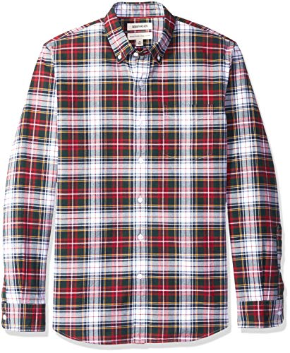 Amazon Brand - Goodthreads Men's Standard-Fit Long-Sleeve Plaid Oxford Shirt, red Navy White
