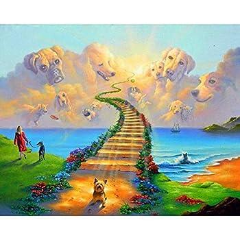 WiHome 5D Diamond Painting Kits for Adults Full Drill Dog Heaven Walk Rainbow Bridge Embroidery Rhinestone Painting