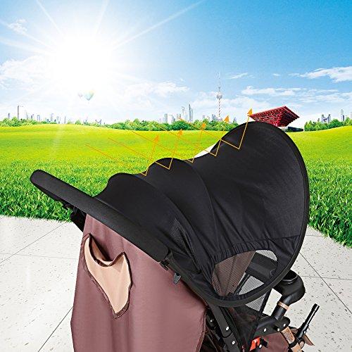 LIHAO大型サンシェイドベビーカー日よけカバーレイフリーUVカット99%風よけ通気性熱中症対策ブラック