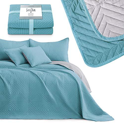 AmeliaHome Colcha de cama azul y gris, 260 x 280 cm, doble cara, acolchado ultrasónico, poliéster, Softa