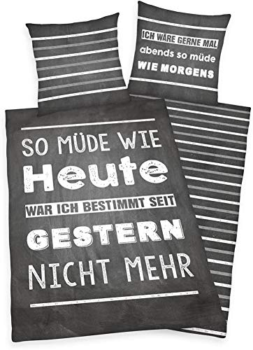 Herding Young Collection Bettwäsche-Set, Wendemotiv mit Spruch, Bettbezug 135 x 200 cm, Kopfkissenbezug 80 x 80 cm, Baumwolle/Renforcé