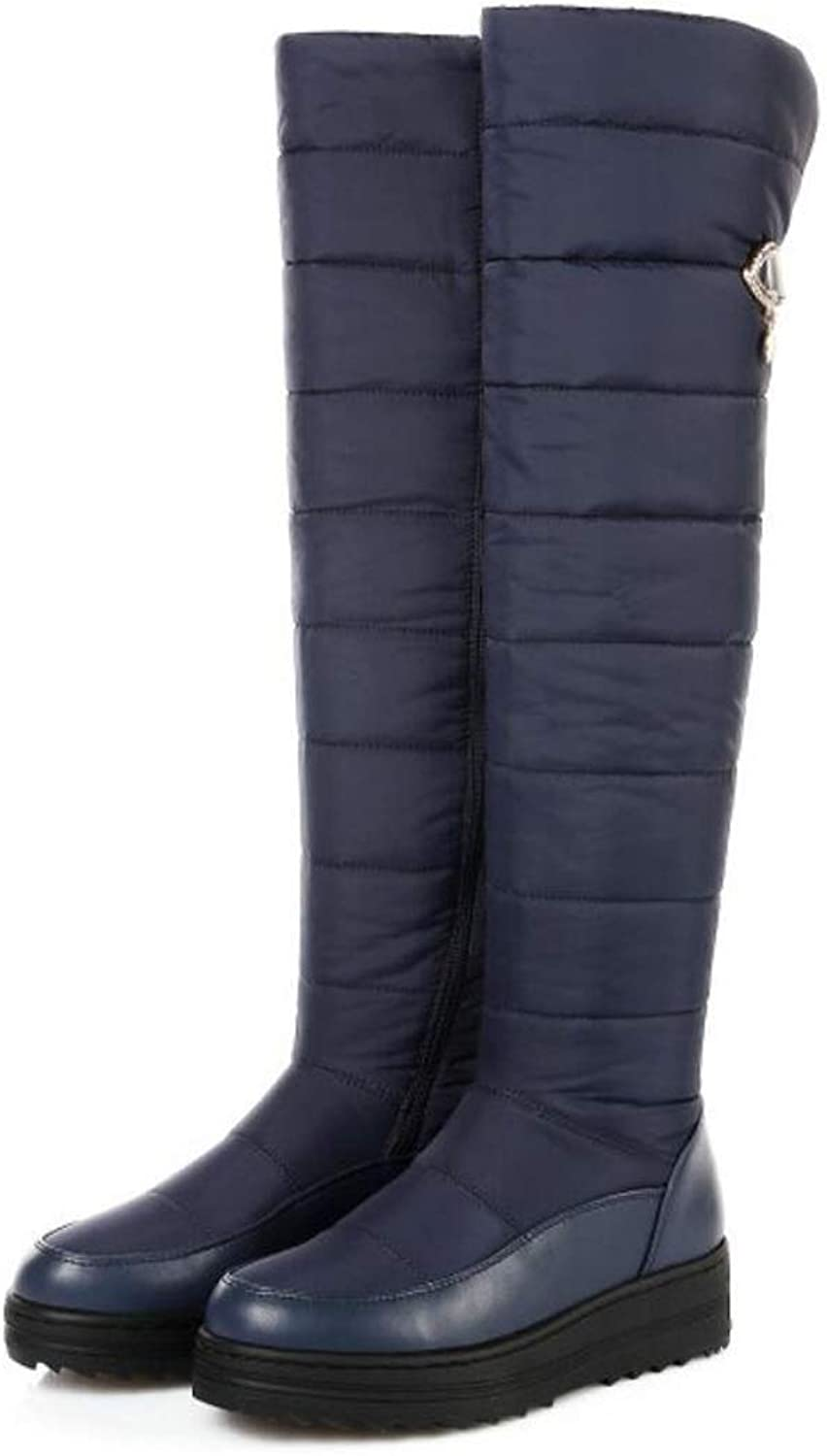 Women Winter Boots Knee High Snow Boots Round Toe Warm shoes Ladies Fashion Waterproof Boots (Black bluee)