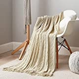 Dream Sunset Knit Throw Blanket 50 x 60 Inch ,Textured Strip and Diamond Pattern with Tassels Fringe , Lightweight for Couch, Sofa, Bed and Chair, Beige