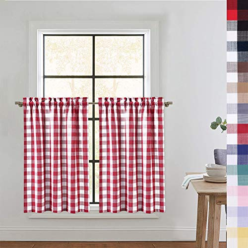 CAROMIO Red Tier Curtains for Kitchen, Buffalo Plaid Gingham Rod Pocket Half Window Cafe Curtains Kitchen Curtains Bathroom Window Curtain, 36 Inches