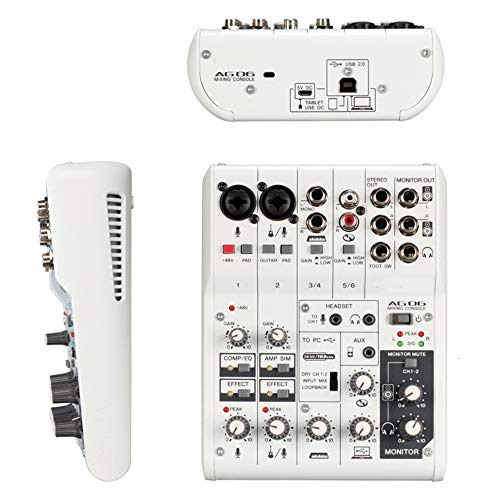 Professionele audio-mixer met 2 kanalen, USB-interface, USB-interface, USB-interface, microfooningang en uitgangspunt.