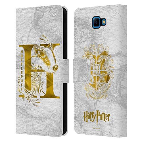 Head Hülle Designs Offizielle Harry Potter Hufflepuff Aguamenti Deathly Hallows IX Leder Brieftaschen Handyhülle Hülle Huelle kompatibel mit Samsung Galaxy J4 Core