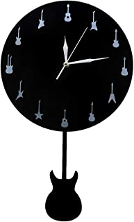 YJSMXYD Wall Clocks Guitar with Swinging Guitar Music Studio Pendulum Watches Unique Guitaris Mute Easy to Read Large Numbers Living Room Bedroom Office Hotel Bar