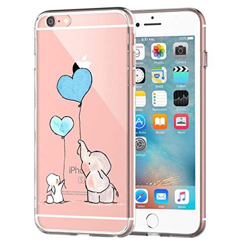AIsoar Coque iPhone 6/iPhone 6S, Bumper Housse Etui [Liquid Crystal] Ultra Mince Protection Premium TPU Silicone Premium Transparent/Exact Fit/Souple pour iPhone 6/iPhone 6S (Lapin et Éléphant)