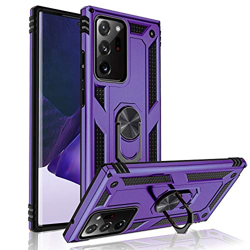 SNBLK Compatible for Samsung Galaxy Note 20 Ultra 5G Case with Kickstand and Ring Holder, Rugged Shockproof Heavy Duty Military Phone Case Cover for Men Women [Support Magnetic Car Mount], Purple