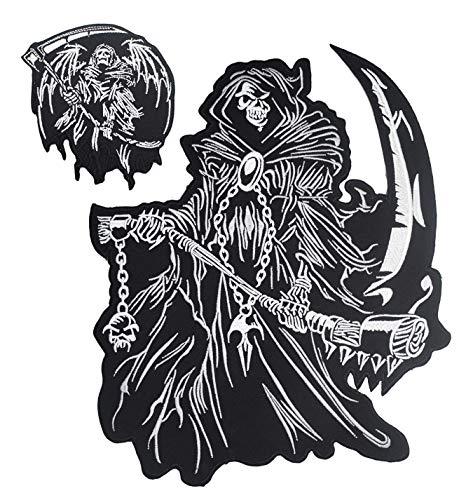 Grim Reaper god of Death Small & Large Skull Embroidered Biker Back Patches for Motorcycle Jacket & Vest (Set of 2)