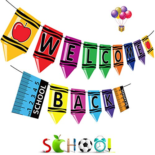 Funnlot Back to School Banner Welcome Back Banner Back to School Decorations Welcome Banner Classroom Garland Back Banner for First Day of School Teacher Decorations for Classroom