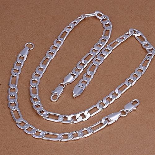 925 Sterling Silver Charm Hombres Mujeres Figaro Cadena Collar Pulseras Charm Joyas Conjuntos (Metal color : 50cm and 20cm)