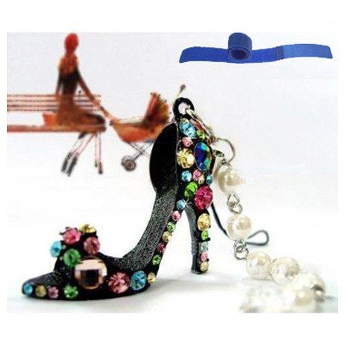 Gleader Decorazione catena ciondolo scarpe con tacco alto in strass per telefono macchina borsa portachiavi regalo - perfetto per donna ragazza