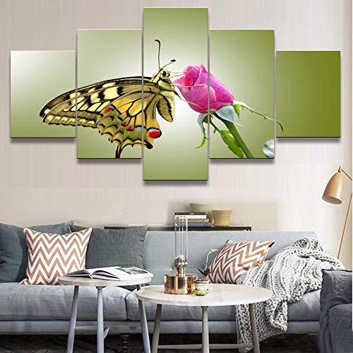 Cuadro modular Home Wall Art Framework Imprimir lienzo 5 piezas Naturaleza Animal Mariposa y flor Cartel Pintura para sala de estar