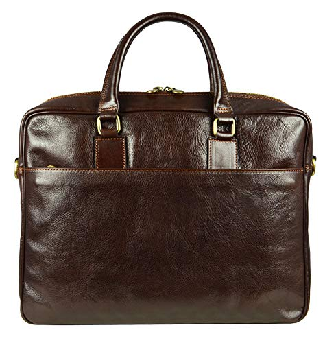 Leather Laptop Bag Briefcase - Italian Full Grain Messenger Computer Shoulder Work Case Portfolio Satchel Bag for Business - Time Resistance (Dark Brown)
