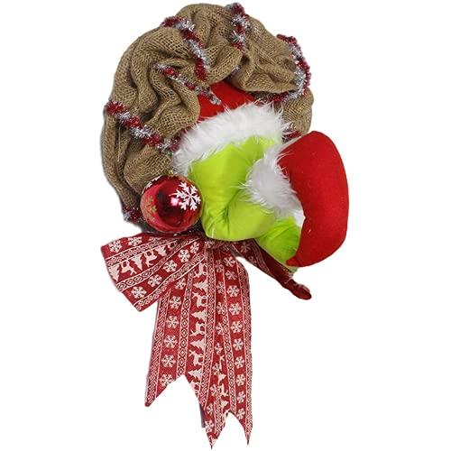 Ulyjcq Decoración de la Guirnalda navideña, robando una Corona de arpillera de Navidad, Puerta y Pared de la Ventana Que cuelga la decoración
