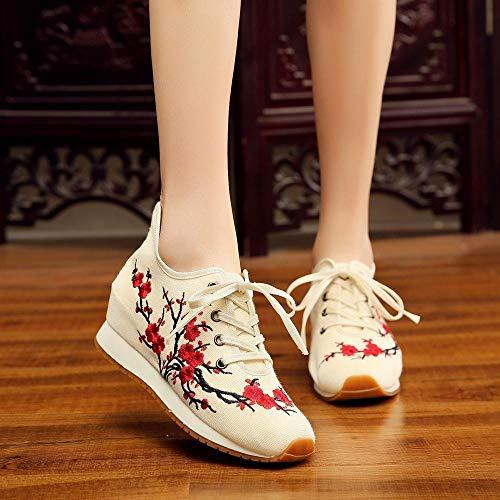 SYXYSM Zapatos Blooming Ciruelo Bordado Mujeres Zapatillas de Lona Cómoda Plataforma Oculta Bordado Lace Up Zapatos Zapatos Huesos (Color : Beige, Size : 39 EU)