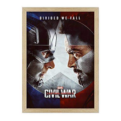 ConKrea POSTER Original Chinema mit Rahmen – gekrönt – Captain America – Civil War – Größe 70 x 100 cm B - Colore Legno Naturale Tradizionale