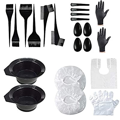 DKAF 22 Pcs Hair Dye Coloring Kit, Hair Tinting Bowl Dye Brush Ear Cover Gloves Dye Mixer and Hair Coloring Cape, Hair Dye Tools Set For Salon and Home Use