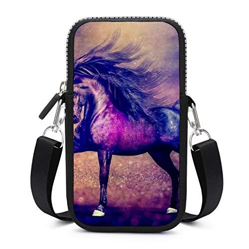 Bolso de teléfono móvil Crossbody con correa de hombro extraíble púrpura caballo bolsa impermeable para dinero cintura cartera Yoga Bolsas mujeres