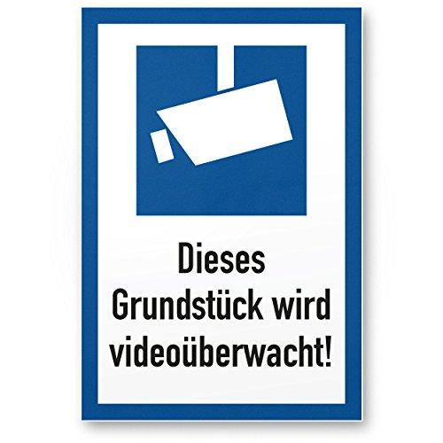 Grundstück Videoüberwacht Kunststoff Schild (20 x 30 cm) - Achtung/Vorsicht Videoüberwachung - Hinweis/Hinweisschild Videoüberwacht - Warnschild/Warnhinweis Videoüberwachung