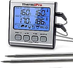 ThermoPro TP17 Digital Grill termometer Roast termometer Kött termometer Ugn termometer med Timer, två rostfria sonder, blå bakgrundsbelysning, temperaturområde upp till 300 ° C