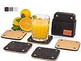 FILQO Filz Kork Untersetzer Gläser schwarz | 8er Set Glasuntersetzer + Box | Getränke Tassenuntersetzer 100% natürlichem Kork | Filzuntersetzer Korkuntersetzer für Glas Tasse Bar - Jetzt ansehen