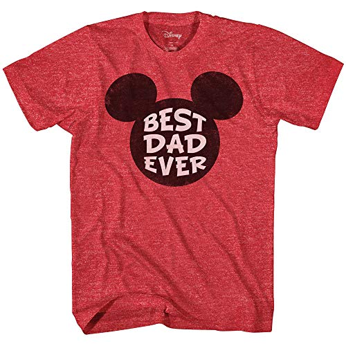 Disney Mickey Mouse World's Best Dad Ever Disneyland Graphic Adult T-Shirt(Heather Red,X-Large)