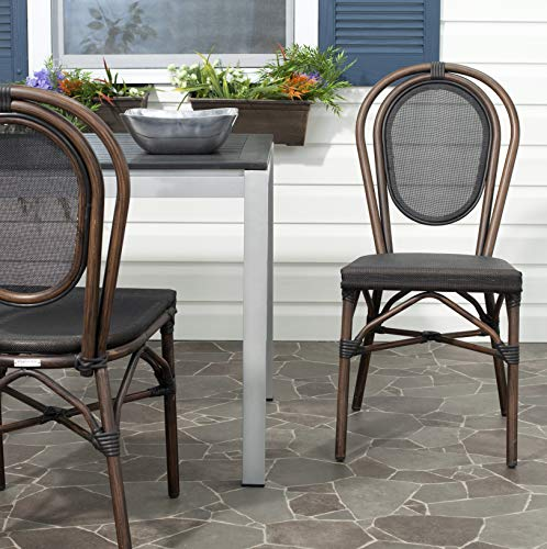 Safavieh Outdoor Living Collection Ebsen Wicker Side Chairs, Black, Set of 2