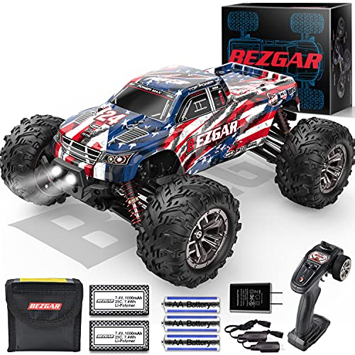 BEZGAR 6 Hobby Grade 1:16 Scale Remote Control Truck, 4WD High Speed 30+ Kmh All Terrains Electric Toy Off Road RC Monster Vehicle Car Crawler with 2 Rechargeable Batteries for Boys Kids and Adults