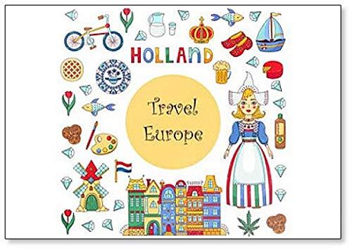 Imn para nevera con ilustracin de los smbolos y atracciones de Holland Dutch