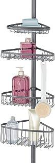 mDesign Estantería de ducha metálica sin taladros – Práctico organizador de ducha para el rincón de metal y plástico – Estantería para ducha con barra telescópica y toallero de barra – gris