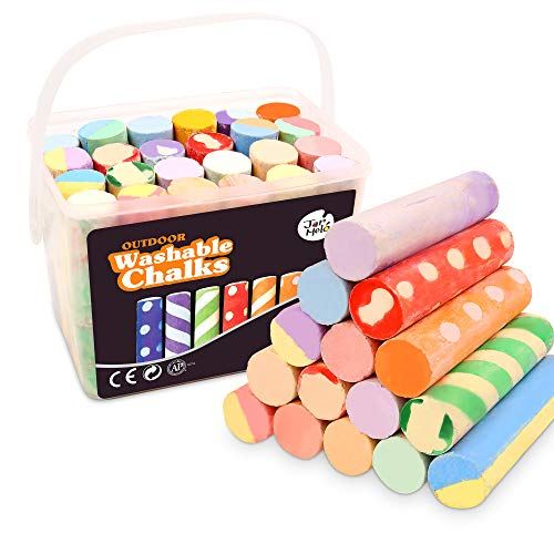 Jar Melo Jumbo Sidewalk Chalk Set for Kids, 24 Colors,Washable Outdoor...