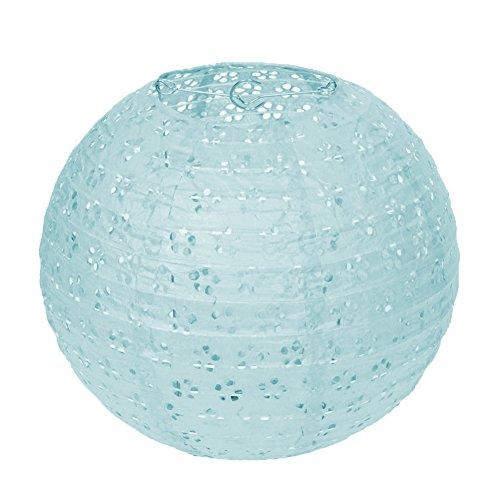 Dazone Lampion Chinois Ciselée Abat-Jour en Papier Lanterne Boule pour Décoration de Mariage Maison Noël Fête etc. avec LED(Lot de 10pcs) Bleu 10 Pouces(25cm)