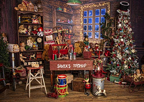 DePhoto Christmas Santa's Toy Shop Photography Backdrop for Party Christmas Tree Gift Snow Window Wood Shed Store Background Family Portrait Seamless Vinyl Photo Props Banner Supplies PGT587B 9x6ft