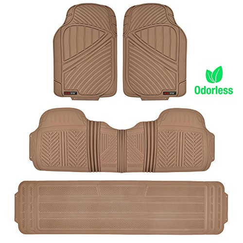 Motor Trend 3-Row Odorless Rubber Floor Mats & Liners for Car SUV Van, Front 2nd...