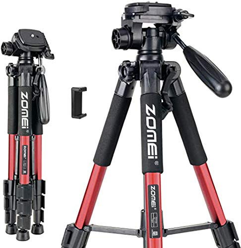 55' Tripod Q111 Flexible Travel Camera Tripod with 3-Way Pan Head and Phone Holder Mount for Gopro,Projector,Smartphones Tablet to Live Broadcast and DSLR EOS Canon Nikon Sony Samsung(Red)