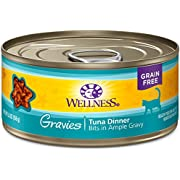 Wellness Natural Pet Food Complete Health Gravies Grain Free Canned Cat Food, Tuna Dinner, 5.5 Ounces (Pack of 12)