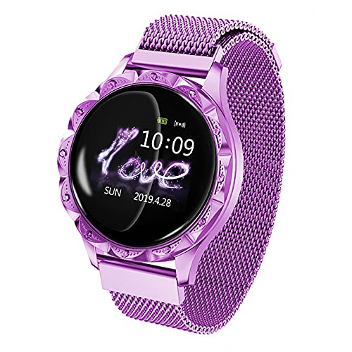FVIWSJ Relojes Inteligentes Mujer,IP67 Pantalla Táctil Resistente Agua,Smart Watch Men's Y Women HD Pantalla,Bluetooth Call Smart Watch para iOS Android,Púrpura