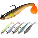 TRUSCEND Fishing Lures for Bass Trout Jighead Lures Paddle Tail Swimbaits Soft Fishing Baits...