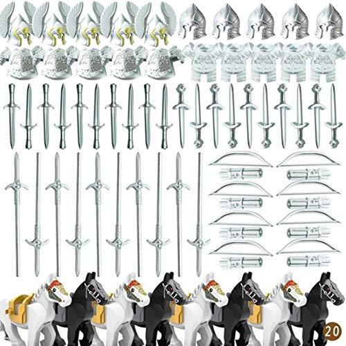PARIO 82St. Ritter Helm, Ritter Weste und Custom Waffen Set für Ritter Mini Figuren SWAT Team Polizei, kompatibel mit Lego