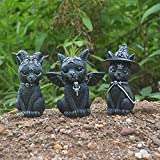 Occult Cat Figurine, Magic Cat Resin Crafts Animal Ornaments, Cute Cat Gift, Cat Table Decoration For Indoor, Outdoor, Balcony, Living Room, Entrance (Little Horned Cat)